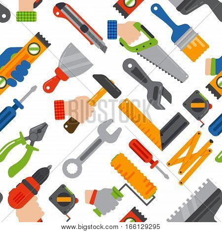 Tools and electrical equipment background. Seamless pattern of screwdrivers and saws, pliers and paint brushes and tape measures. DIY, construction and carpentry theme.
