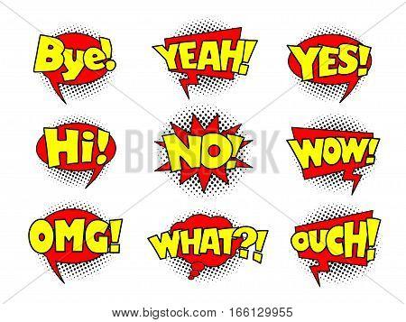 Comic speech bubbles, cool action sound effect