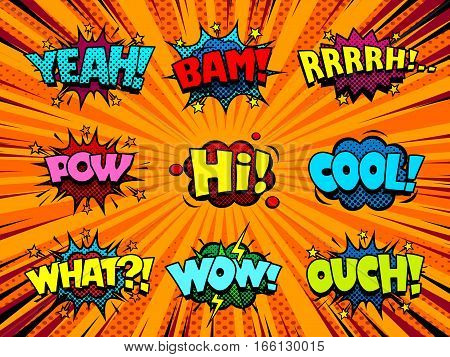 Comic sound effect speech bubbles, marveling and enjoying expressions