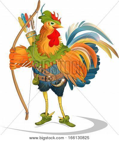 Rooster Peter cock Robin hood fairy-tale happy
