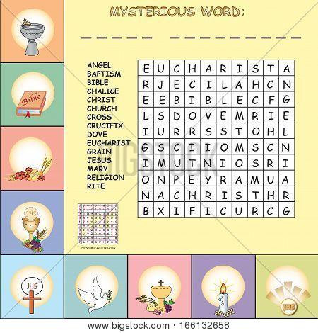 illustration of Crosswords for first communion for children