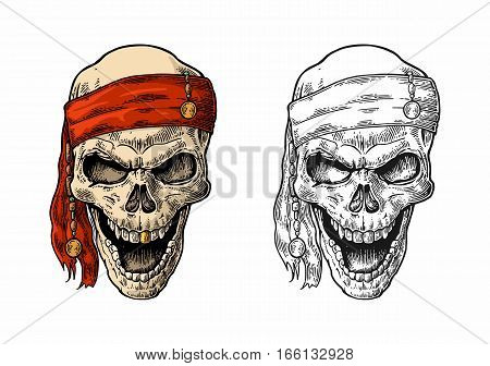 Skull pirate in bandana smiling. Color and black vintage engraving vector illustration. For poster laser engraver and tattoo biker club. Hand drawn design element isolated on white background