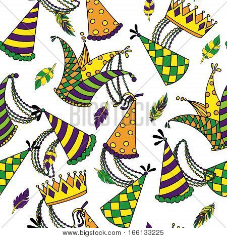 Mardi Gras seamless pattern. Colorful background with carnival hats and jesters hat, crowns, feathers, beads and ribbons. Vector illustration