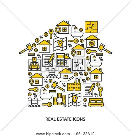 Real estate business outline vector icons background