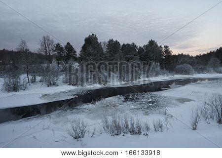 Winter view of Zapadnaya Dvina (Daugava) river near Okhvat lake Penovskiy district Tver oblast Russia