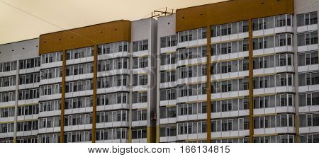 Apartment building, under construction, social housing, apartments, residential area, fragment of modern building