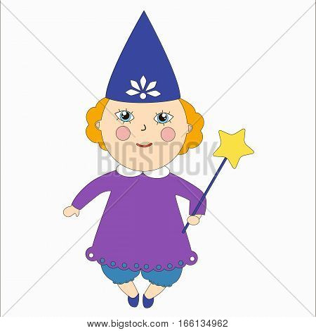 Tooth fairy. Little girl in a witches costume. Cartoon children character.