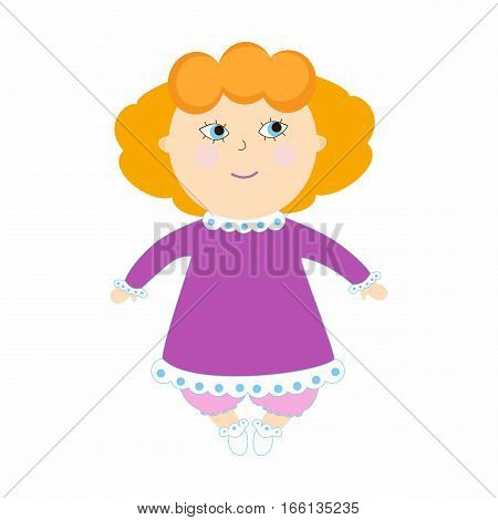 Infant girl smile. Illustration with the kid on a white background. Cartoon children character.