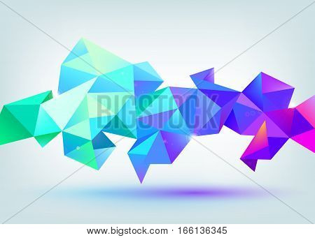 Vector faceted 3d crystal colorful blue shapes, banner. crystal banner, horizontal orientation.
