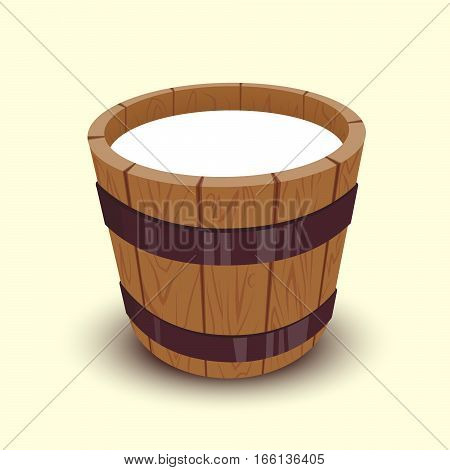 Milk in wooden bucket cartoon vector illustration isolated on white background