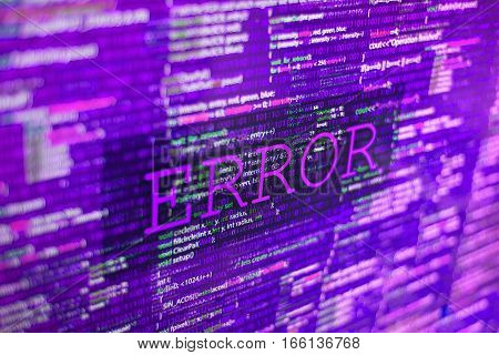 Acid trip toxic error in program code listing, red violet pink crash on software developer screen