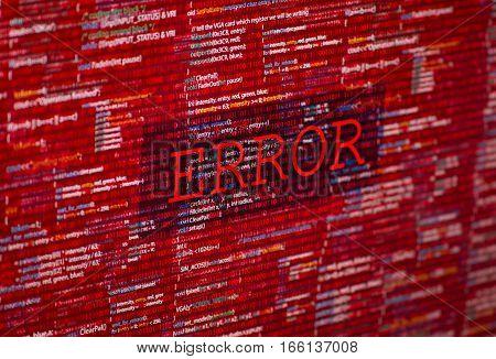 Error in program code listing, red crash  on software developer screen