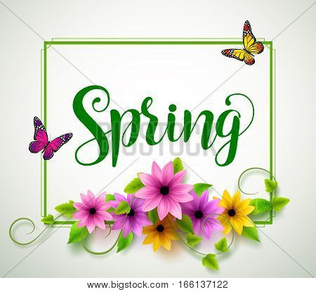Spring vector typography with colorful flowers, leaves, vines and butterflies in a boarder with white background. Vector illustration.