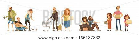 Groups of homeless people set in cartoon style with singing men family couples kids  isolated vector illustration