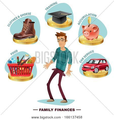 Family budget planning flat icons pictorial composition with wage earner in center surrounded by outgoing expenses vector illustration
