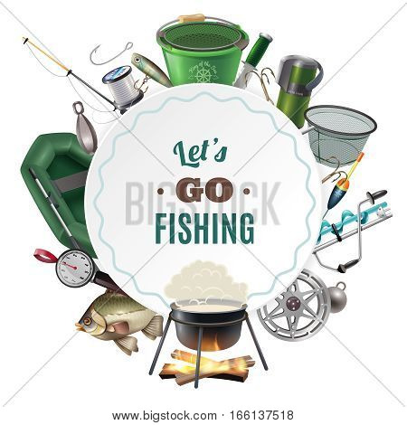 Freshwater fishing sport round frame composition of classic equipment accessories and freshly caught fish  decorative vector illustration