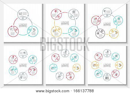 Thin line flat elements for infographic. Template for diagram, graph, presentation and chart. Business concept with 3, 4, 5, 6, 7 and 8 options, parts, steps or processes. Stroke icons.