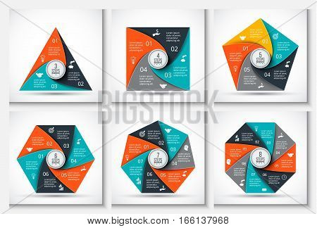 Vector geometris elements for infographic. Template for cycle diagram, graph, presentation and chart. Business concept with 3, 4, 5, 6, 7 and 8 options, parts, steps or processes. Data visualization.
