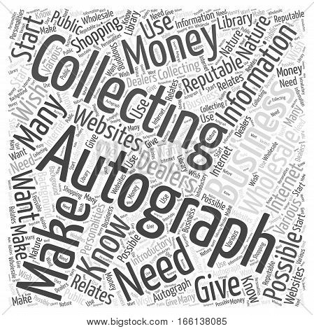 How to Make Money Autograph Collecting Word Cloud Concept