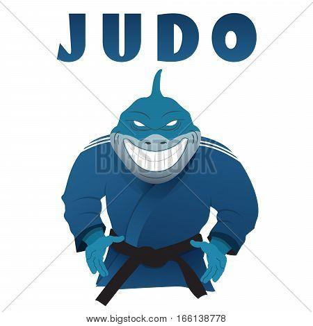 Shark judo fighter in kimono vector illustration. Cartoon logo of Japan martial arts.