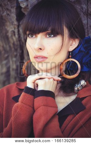 Beautiful Sensual Fashion Young Woman With Freckles