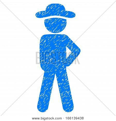 Gentleman Audacity grainy textured icon for overlay watermark stamps. Flat symbol with dust texture. Dotted vector blue ink rubber seal stamp with grunge design on a white background.