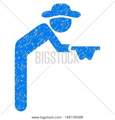 Gentleman Beggar grainy textured icon for overlay watermark stamps. Flat symbol with dust texture. Dotted vector blue ink rubber seal stamp with grunge design on a white background.