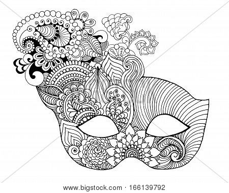 Mardi gras lace mask. Black white vector illustration