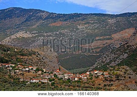 The picturesque village stretches in the valley among Parnassus mountains near Thermopylae, Greece
