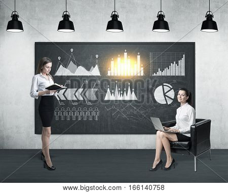 Two women in a room. One is holding a book. The second is sitting with her laptop in an armchair. Six graphs are drawn on a blackboard. 3d rendering. Toned image