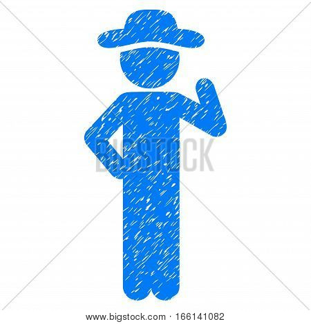 Gentleman Proposal grainy textured icon for overlay watermark stamps. Flat symbol with scratched texture. Dotted vector blue ink rubber seal stamp with grunge design on a white background.