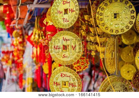 Lunar New Year Lucky Decoration Objects. Words Mean Best Wishes And Good Luck For The Coming Vietnam