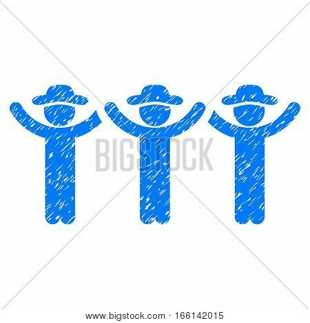 Gentlemen Hands Up grainy textured icon for overlay watermark stamps. Flat symbol with unclean texture. Dotted vector blue ink rubber seal stamp with grunge design on a white background.