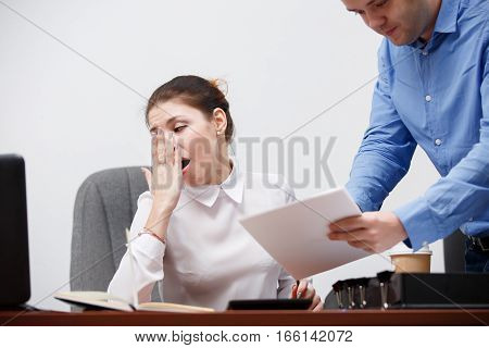 Young guy came to boss for sign documents