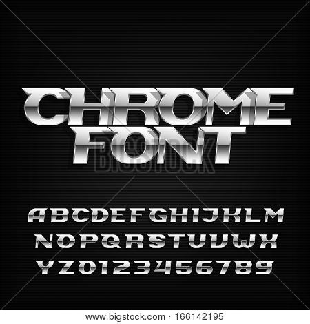 Chrome alphabet font. Metallic effect italic letters and numbers on a dark background. Stock vector typeface for your design.