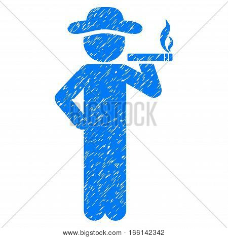 Smoking Gentleman grainy textured icon for overlay watermark stamps. Flat symbol with dirty texture. Dotted vector blue ink rubber seal stamp with grunge design on a white background.