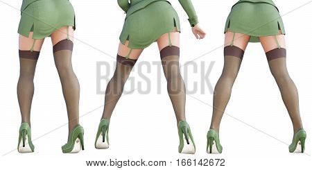 Set girl military green khaki uniform. Dark stockings with garters. Extravagant fashion art. Woman standing candid provocative sexy pose. Photorealistic 3D rendering isolate illustration. Studio.