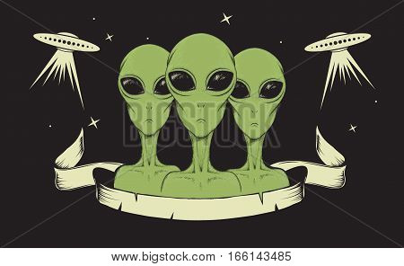 humanoids concept vector illustration.Aliens watching for us.