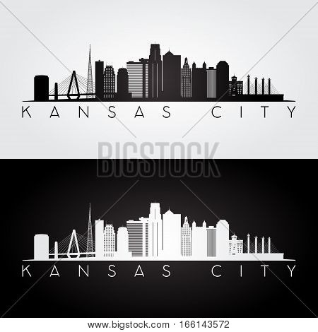 Kansas City USA skyline and landmarks silhouette black and white design vector illustration.