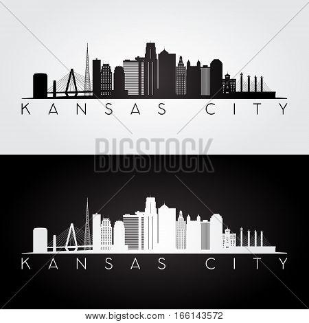 Kansas City USA skyline and landmarks silhouette black and white design vector illustration.