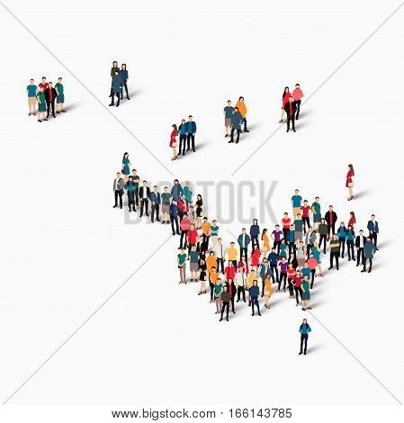 Isometric set of styles, people, map of Saint Barthelemy, country, web infographics concept of crowded space, flat 3d. Crowd point group forming a predetermined shape. Creative people. Vector illustration. Photo vector.3D illustration. White background .