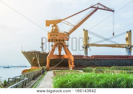 cargo container ship at harbor,business and industry concept,china.