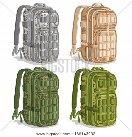 Vector set icons Military Camouflage Backpacks, gray Army rucksack, khaki camo big knapsack bag with strap, green large camouflage infantry backpack for armed forces, logo military haversack for army.