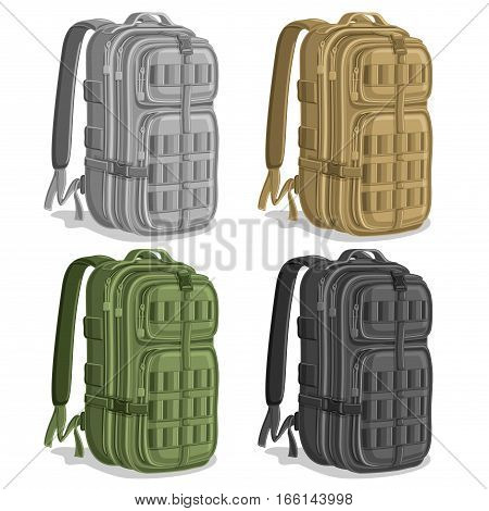 Vector set Military Backpacks, gray Army rucksack with handle, khaki hiking big back bag with pocket, green large infantry backpack for armed forces, black pack military haversack with straps for army