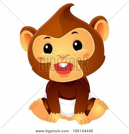 Vector Illustration of Baby Monkey wearing Diaper