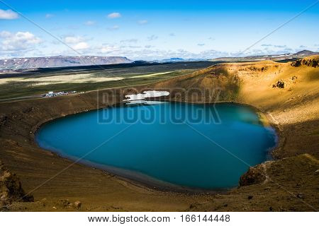 Viti crater lake at Krafla geothermal area Iceland