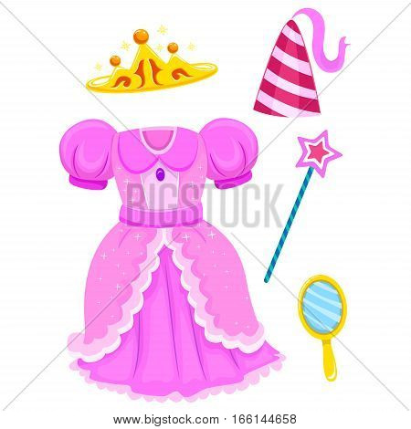 Vector Illustration of Set of Princess Accessories Elements