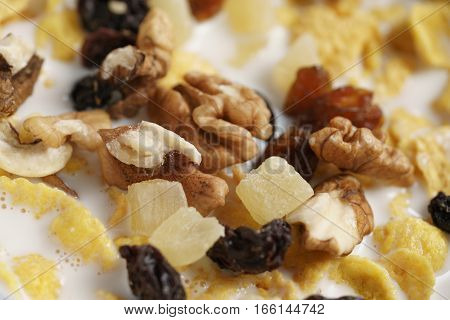 macro photo of corn flakes with fruits and nuts in bowl, shallow focus