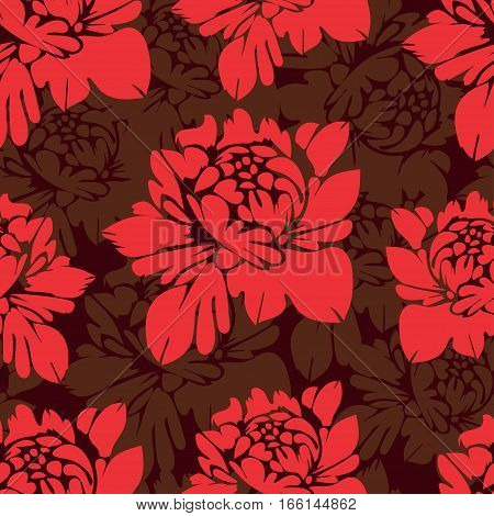 Abstract Flowers Seamless Pattern. Vintage Floral Background. Red Buds On A Burgundy . For The Fabri