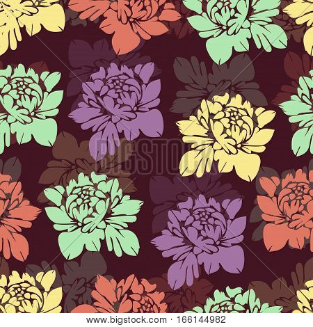 Abstract Multicolored Flowers Seamless Pattern. Vintage Floral Background. Multicolor Buds On A Burg